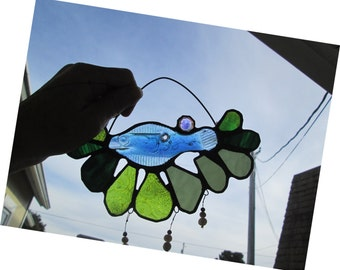 Stained Glass Flower Suncatcher with Glass Fish and Crystals - Chinook
