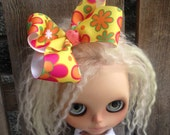 dolly molly YELLOW PINK FLOWERS  bow for blythe doll girls