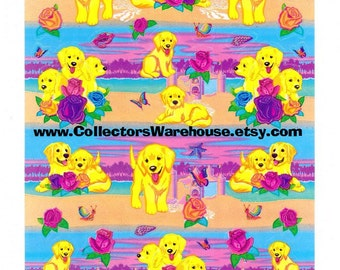 Lisa Frank Casey the Golden Retriever Puppy Rose Scented Sticker Sheet S951-04 vintage scentsations scratch and sniff
