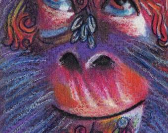 original art  aceo drawing monkey face entangle