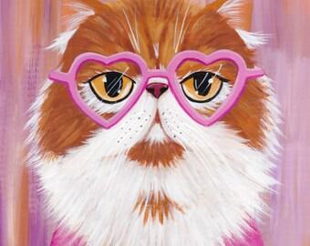 Heart Shaped Glasses Original Persian CAT Folk Art Painting