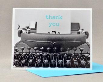 Thank you Card Blue Typewriter Blank