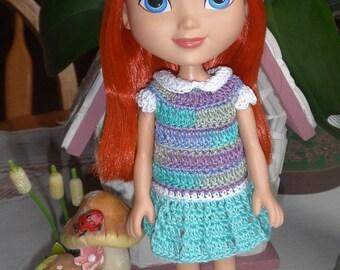 Crochet for 8 or 9 inch Dora Friends Dress Set Blue Purple White Green Aqua