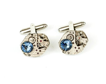 Steampunk Silver Cufflinks with Matched Vintage Watches and Gorgeous Etched SCALE Pattern and Blue Swarovski Crystals by Velvet Mechanism