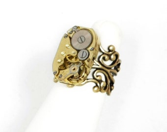 Steampunk Adjustable Antiqued Brass Ring with RARE Vintage Brass Antiqued Gold Watch Movement by Velvet Mechanism