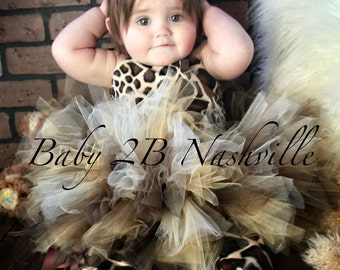 Safari Giraffe Costume With Leggings,  Birthday Tutu  Pageant Outfit of Choice,  Brown GiraffeTutu Baby - Girls 8