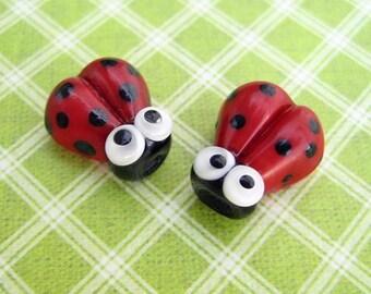 2 Glass Ladybug Beads - Lampwork Ladybug Beads - 15mm Ladybug Beads - Red Ladybug - SRA Handmade Lampwork - X