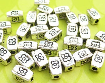 12 Rectangle Tube Beads - Silver Plated - 8mm Beads - Floral Beads - Tube Beads - Spacer Beads - Silver Beads - DIY Jewelry - TS240B