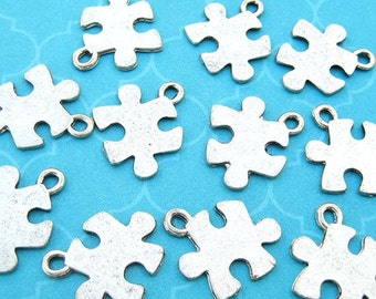 2 Puzzle Piece Charms, Puzzle Charms, Silver Plated, Puzzle Piece Pendants, Autism Awareness, Aspergers Awareness, Silver Charms