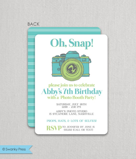 Photo Booth Invitation Photo Party Selfie Invitation Teen – Tween Party Invitations