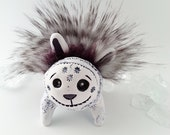 Polymer Clay Art Doll Sculpture, Monster Art Object, Faux Fur, Fur Bug
