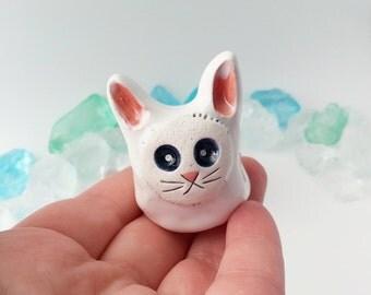 White Ceramic Rabbit, Bunny Figurine, Clay Bunny, Cute White Rabbit Sculpture