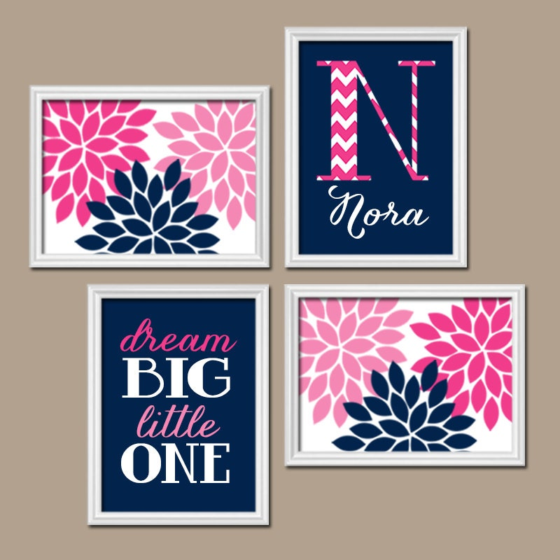 Navy pink nursery wall art canvas or prints baby girl for Room decor canvas