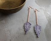 grayed lavender earrings // PERSIS // lace earrings / leaf /  long earrings / bohemian / festival jewelry gift - under 25