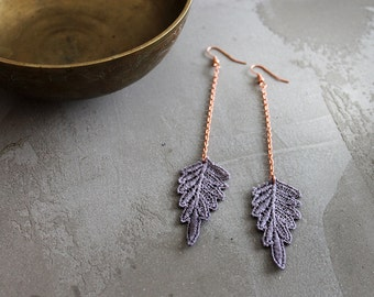 grayed lavender earrings // PERSIS // lace earrings / leaf /  long earrings / bohemian / festival jewelry gift - under 25