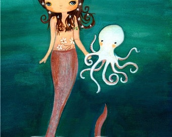 Mermaid Print---Nautical Girl Octopus Children Wall Art---Sea Friends LARGE PRINT 11 x 14