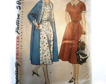 Simplicity 1523 Vintage Pattern 1951-52 Elegant Dress & Coat Ensemble
