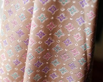 2 yds Faux Silk Shantung Vintage Fabric Mod 60s Print Silky Drapey Pretty