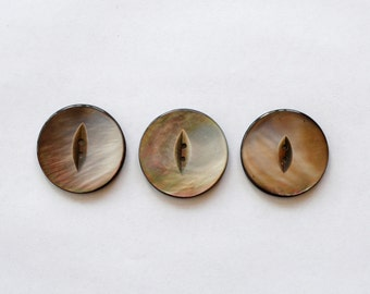 Set of 3 Vintage Mother of Pearl Buttons Iridescent Gray Lot # 48