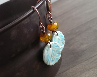 Hello sunshine - Ceramic blue and yellow earrings on copper