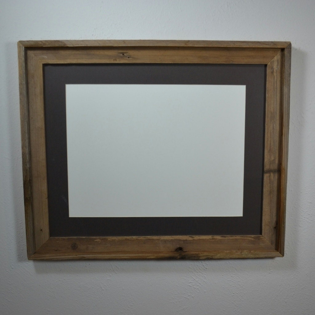 Brown 16x20 Barn Wood Frame With Charcoal Mat For