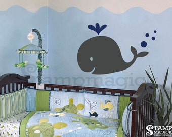 Mom Whale Wall Decal - Big Whale Vinyl Decal Decor Graphics - Ocean Animals Wall Decal for nursery - K169