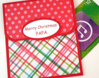 Papa Christmas Gift Card Holder - Holiday GiftCard Sleeve - Merry Christmas Papa - Grandfather Money Card - Gift Card Envelope, GiftCard