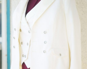 White Wedding Tuxedo----A Three Piece Steampunk Suit