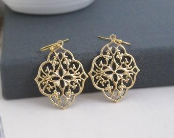 Gold Moroccan Filigree Chandelier Earrings. Dangle Boho Chic Style Ear Jewelry. Bridesmaid Gift. Bridal Wedding Earrings