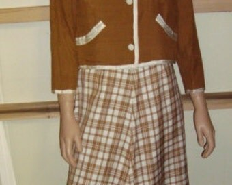 60's Mocha Brown and White Plaid Suit