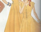 Fit & Flare Day Dress/Frock, Ruched Bodice, Keyhole Back... McCALLS 2386 Easy Vintage Sewing Pattern... Size 12 b34... UnCut