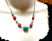 Southwest turquoise, coral necklace, green jade, blue, red, antiqued brass chain