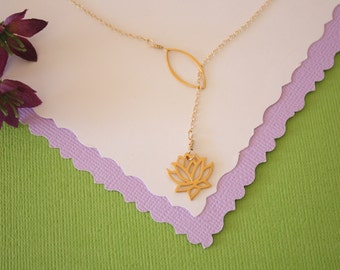 Lotus Lariat Necklace, Sterling Silver,  Bridesmaid Gift, Mother Gift, Best Friend Gift, Yoga, Calming