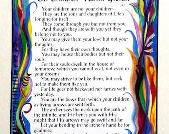 ON CHILDREN Inspirational QUOTE Kahlil Gibran Baby Shower Nursery Decor Parenting Gift Typography Print Heartful Art by Raphaella Vaisseau