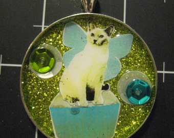 Kitchen Faerie Cat Pendant, Cupcakes for Cats, 50% of the proceeds go to the current selected animal charity