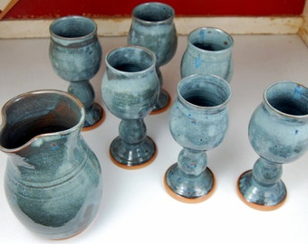 Set of Six Wine Goblets and Carafe in Slate Blue - Made to Order