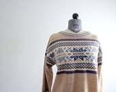Southwestern Sweater • Tribal Sweater • Ikat Sweater • 70s Sweater • Vintage Southwest Sweater • Camel Sweater • Knit Sweater • Boho Sweater