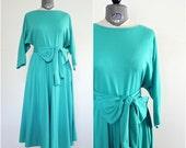 Wrap Dress • 1980s Wrap Dress • Wrap Around Dress • 80s Dress • 80s Wrap Dress • Aqua Dress • Summer Dress • 80s Sundress • Wrap Dress Large