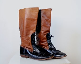 Riding Boots • Vintage Leather Boots • Lace Up Boots • Campus Boots • Equestrian Boots • Tall Leather Boots • Tall Lace Up Boots • 7.5 - 8