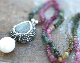 Tourmaline Gemstone and White Freshwater Pearl Hand Knotted Silk Cord Necklace, Tourmaline Jewelry