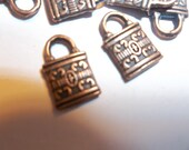 Small Copper Lock Charms Pendant Findings For Jewelry Supplies 11 Pieces 16mm 2 Sided