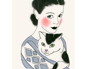 "Cat Wall Art - Cat Artwork - Cat Decor  -  Severine and Marc 4"" X 6"" print - 4 for 3 SALE"