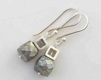 Petite Silver Cubes with Labradorite Earrings - E1230