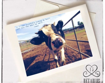 Proceeds to Animal Rescue, Folk Art Greeting Card, Mother's Day Card, Moo Cow Blue Skies Cow in Pasture, Nature, Haiku, Any Occasion, Blank