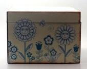 File Recipe Box Shabby Flowers Upcycled