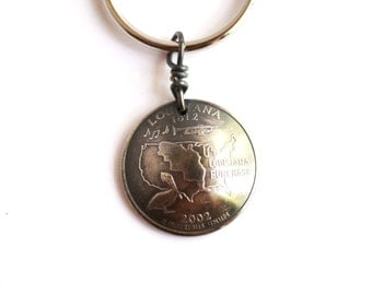 Louisiana Keychain, U.S. State Quarter Dollar Coin, Key Ring 2002, Key Fob by Hendywood