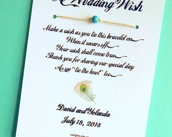 Boho Chic - A Wedding Wish - Unity Bead Wish Bracelet Wedding Favor Custom Made for You