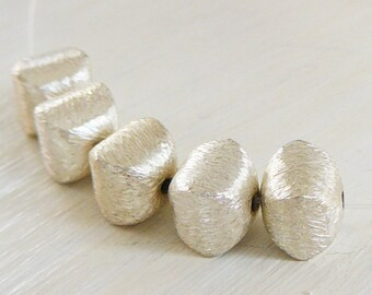 1 sterling silver beads brushed square pillow jewelry supplies 925 beading supply