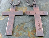 Cross Necklace Personalized Hammered Copper Cross Any Name and Date First Holy Communion Confirmation Baptism Christening