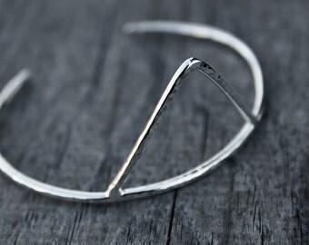 Sterling silver cuff - triangle cuff - silver triangle cuff - cuff bracelet - hammered - tribal cuff
